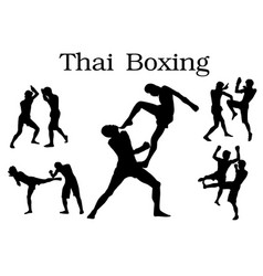 Thai boxing silhouette vector