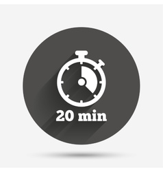 Timer sign icon 20 minutes stopwatch symbol vector image