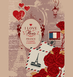 Travel banner with eiffel tower and french flag vector