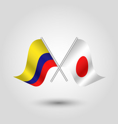Two crossed colombian and japanese flags vector