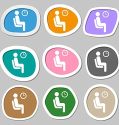 waiting icon symbols Multicolored paper stickers vector image