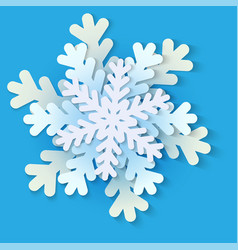 White and blue christmas paper snowflake vector