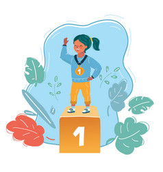 winner kid on first place vector image