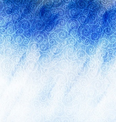 Winter watercolor background with swirls blizzard vector