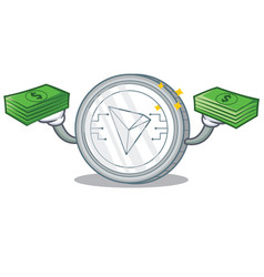 With money tron coin character cartoon vector