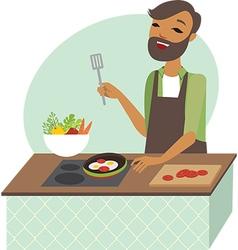 Young man preparing meal vector image