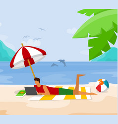 young man relaxing on beach lying with laptop vector image