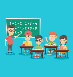 Young teacher explaining to children mathematics vector