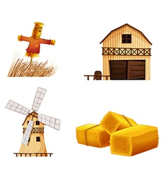 Barn houses hays and a scarecrow vector image vector image