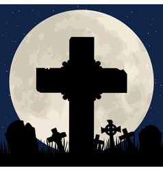 cenentary cross and moon vector image vector image