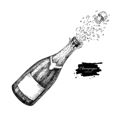 Champagne bottle explosion Hand drawn isolated vector image