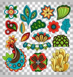 doodle floral paisley elements vector image