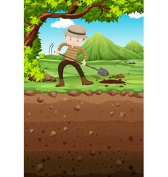 Man digging hole in the park vector image vector image