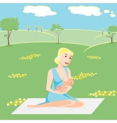 mother is breastfeeding the baby vector image
