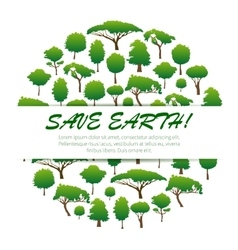 Save Earth banner palcard emblem design vector image