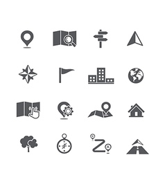 Set of map navigation icon vector image
