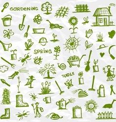Spring Garden tools sketch for your design vector image