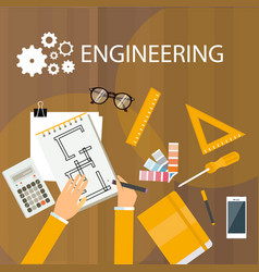 engineering desk view from desk top hand drawing vector image