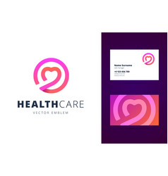 health care logo and business card template vector image vector image