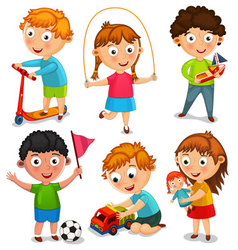 Kids are playing with toys vector image vector image