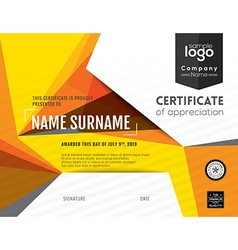 Modern certificate with polygonal background vector image