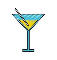scribble yellow cocktail cartoon vector image