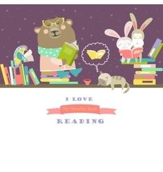 Animals reading books on bookshelves vector image