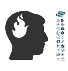 Brain Fire Icon With Air Drone Tools Bonus vector image vector image