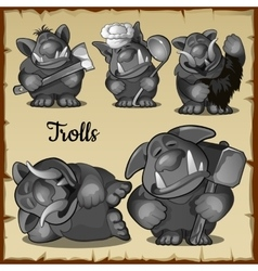 Figurines scary funny trolls in a variety of roles vector