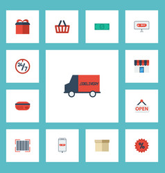 flat icons qr shop shopping and other vector image vector image