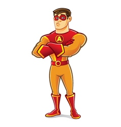 Handsome Superhero Crossing Arm vector image