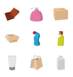 Packing icons set cartoon style vector image vector image