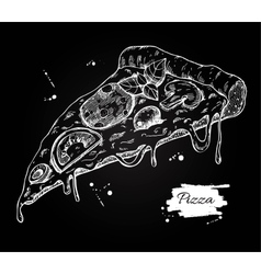 Pizza slice drawing Hand drawn pizza vector image
