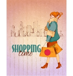 Shopping city poster vector image