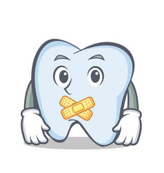 silent tooth character cartoon style vector image