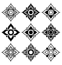 Thai folk art pattern - flower shape vector