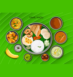 traditional cuisine and food meal thali of tamil vector image vector image