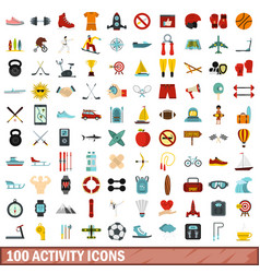 100 activity icons set flat style vector image