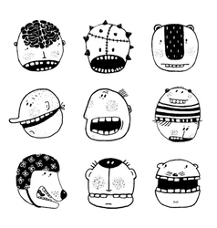 Doodle Outline Cartoon Funny Monster Faces with vector image vector image