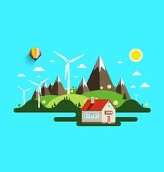 flat design abstract landscape nature scene vector image