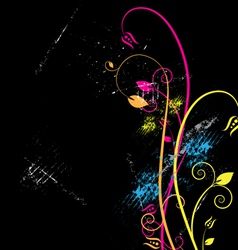 floral and grunge background vector image