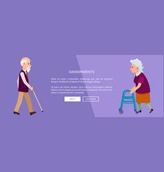 grandparents web banner with grandpa and grandma vector image