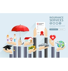 Insurance hands services vector image vector image