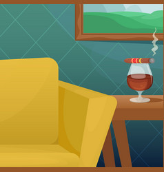 A cozy room with a comfortable upholstered chair vector