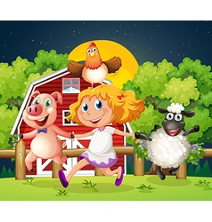A girl playing with the farm animals vector