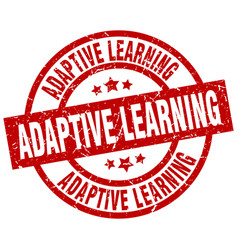 adaptive learning round red grunge stamp vector image
