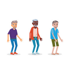 asian african and european men in senior age vector image