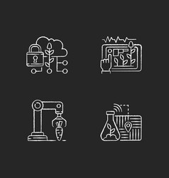 Automation agronomy rgb chalk white icons set vector