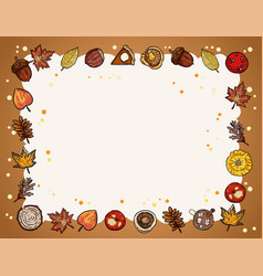 Autumn cute cozy banner with fall elements autumn vector