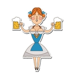 Bavarian woman with beer icon vector